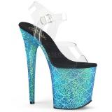 Sininen 20 cm FLAMINGO-808MSLG kimallus platform sandaalit naisten