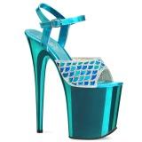 Sininen 20 cm FLAMINGO-809MMRS kimallus platform sandaalit naisten
