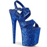 Sininen 20 cm FLAMINGO-897LG kimallus platform korkokengät naisten