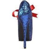 Sininen Kimalle 14,5 cm Burlesque TEEZE-10G Platform Avokkaat Kengät