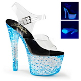 Sininen Neon 18 cm Pleaser CRYSTALIZE-308PS Platform Sandaletit