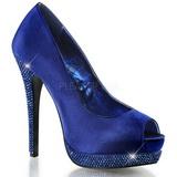 Sininen Satiini 13,5 cm BELLA-12R Kristalli Platform Avokkaat Kengät
