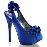 Sininen Satiini 14,5 cm TEEZE-56 Korkeakorkoiset Kengät