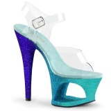 Sininen kimalle 18 cm Pleaser MOON-708OMBRE tankotanssi kengät