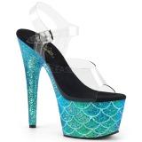 Siniturkoosi 18 cm ADORE-708MSLG kimallus platform sandaalit naisten