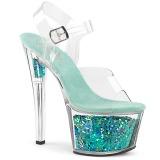 Siniturkoosi 18 cm SKY-308GF kimallus platform sandaalit naisten