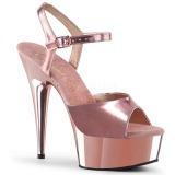 Vaaleanpunainen 15 cm Pleaser DELIGHT-609 Kromi Platform Korkosandaalit