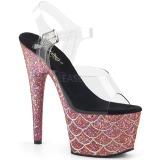 Vaaleanpunainen 18 cm ADORE-708MSLG kimallus platform sandaalit naisten