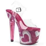 Vaaleanpunainen 18 cm LOVESICK-708HEART Kimaltelevia Kiviä naisten kengät korkeat korko
