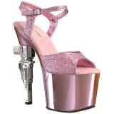 Vaaleanpunainen 18 cm Pleaser REVOLVER-709G Korkosandaalit Kromi Platform