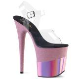 Vaaleanpunainen 20 cm FLAMINGO-808-2HGM kimallus platform sandaalit naisten