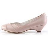 Vaaleanpunainen 4 cm retro vintage LULU-05 Pinup avokkaat kengät alhainen korot
