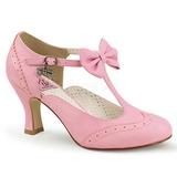 Vaaleanpunainen 7,5 cm retro vintage FLAPPER-11 Pinup avokkaat kengät alhainen korot