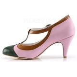 Vaaleanpunainen 8 cm retro vintage PEACH-03 Pinup avokkaat kengät alhainen korot