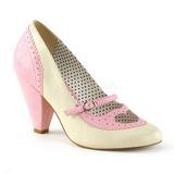 Vaaleanpunainen 9,5 cm retro vintage POPPY-18 Pinup avokkaat kengät alhainen korot