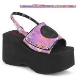 Vaaleanpunainen 9 cm Demonia FUNN-32 lolita sandaalit platform