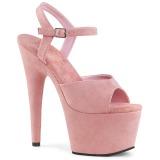 Vaaleanpunainen Keinonahka 18 cm ADORE-709FS naisten korkosandaalit