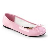 Vaaleanpunainen Kiiltonahka ANNA-01 suuret koot ballerinat kengät