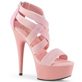 Vaaleanpunainen joustava nauha 15 cm DELIGHT-669 korokepohjaiset pleaser kengät