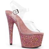 Vaaleanpunainen kimalle 18 cm Pleaser ADORE-708LG tankotanssi kengät