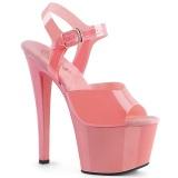 Vaaleanpunaiset korkokengät 18 cm SKY-308N JELLY-LIKE joustavaa materiaalia platform korkokengät