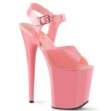 Vaaleanpunaiset korkokengät 20 cm FLAMINGO-808N JELLY-LIKE joustavaa materiaalia platform korkokengät