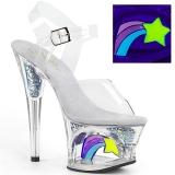 Valkoinen 18 cm MOON-708RSS Neon platform korkokengät naisten