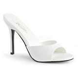 Valkoinen Keinonahka 10 cm CLASSIQUE-01 suuret koot puukengät naisten