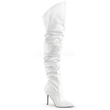 Valkoinen Keinonahka 10 cm CLASSIQUE-3011 overknee pitkät saappaat