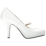 Valkoinen Kiiltonahka 11,5 cm PINUP-01 suuret koot avokkaat kengät