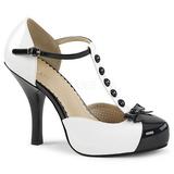 Valkoinen Kiiltonahka 11,5 cm PINUP-02 suuret koot avokkaat kengät