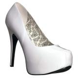 Valkoinen Kiiltonahka 14,5 cm Burlesque TEEZE-06W miesten avokkaat leveään jalkaan