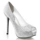 Valkoinen Kristalli 13 cm PRESTIGE-16 Platform Avokärkinen Kengät
