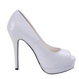 Valkoinen Lakatut 13,5 cm BELLA-12 Avokkaat Kengät Piikkikorko