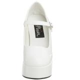 Valkoinen Lakka 13 cm DOLLY-50 Mary Jane Platform Avokkaat Kengät