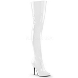 Valkoinen Lakka 13 cm SEDUCE-3010 overknee pitkät saappaat