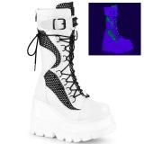 Valkoinen Neon 11,5 cm SHAKER-70 cyberpunk platform saappaat