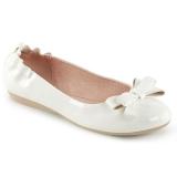 Valkoinen OLIVE-03 ballerinat matalat kengät joissa solmuke