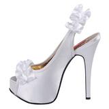 Valkoinen Satiini 14,5 cm Burlesque TEEZE-56 Korkeakorkoiset Kengät