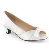 Valkoinen Satiini 5 cm FAB-422 suuret koot avokkaat kengät