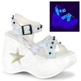 Valkoiset 13 cm Demonia DYNAMITE-02 lolita sandaalit kiilakorkosandaalit