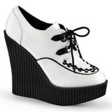 Valkoiset Keinonahka CREEPER-302 creepers kengät kiilakorot