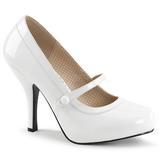 Valkoiset Kiiltonahka 11,5 cm PINUP-01 suuret koot avokkaat kengät