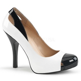 Valkoiset Kiiltonahka 12,5 cm EVE-07 suuret koot avokkaat kengät