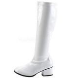 Valkoiset Kiiltonahka 5 cm RETRO-300 Naisten Korkosaappaat