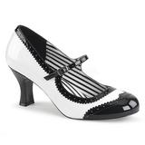 Valkoiset Kiiltonahka 7,5 cm JENNA-06 suuret koot avokkaat kengät