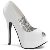 Valkoiset Lakatut 14,5 cm Burlesque TEEZE-22 Piikkikorkoiset avokkaat