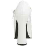 Valkoiset Lakka 13 cm DOLLY-50 Mary Jane Platform Avokkaat Kengät