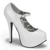 Valkoiset Lakka 14,5 cm Burlesque BORDELLO TEEZE-07 Platform Avokkaat Kengät