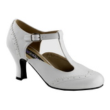 Valkoiset Matta 7,5 cm retro vintage FLAPPER-26 Naisten kengät avokkaat